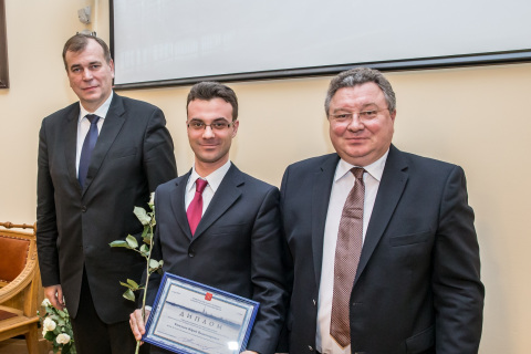 Yu. V. Kozhukhov at the award ceremony of the St. Petersburg Government in the field of scientific and pedagogical activity in 2014. Joint photo with the Chairman of the Committee for science and St. Petersburg Government higher school A. S. Maksimov and rector of Peter the Great SPBSTU A. I. Rudskoy