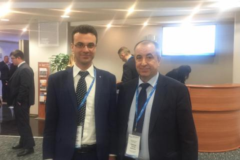 """Head of the CVRE department Yu. V. Kozhukhov and S. I. Saichenko, head of compressor stations operation Department, OOO """"Gazprom transgaz St. Petersburg"""", at the plenary meeting of the 308 Department of PJSC """"Gazprom """" """"Results of the work of gas transport companies and UGS for the operation of compressor stations of PAO """"Gazprom"""" for 2018, the main problematic issues, positive experience"""" chaired by Deputy head of the 308 Department A. N. Bronnikov"""