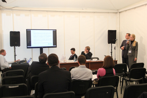 """XVI international scientific and technical conference on compressor engineering. Chairmen of Section No. 1 """"Piston and rotary compressors"""": head of the CVRE Department Yuri Kozhukhov and Director of the scientific and engineering center Sergey Kartashov. The company LMF 2014 is giving the presentation."""