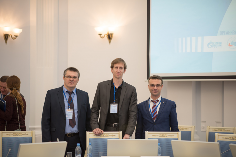 """D. A. Zotov, head of the technological Department of OOO """"Gazprom gazomotornoe toplivo"""", Director of the scientific and engineering center """"Compressor, vacuum, refrigeration engineering and pneumatic systems"""" S. V. Kartashov and the head of the CVRE Department Yu. V. Kozhukhov at the VIII scientific-practical seminar """"Natural Gas. Safe operation of the vehicle """" at the OOO """"Gazprom transgaz Tomsk"""""""