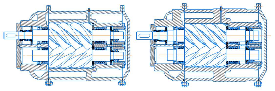 Рисунок 1. Эскизы винтовых компрессоров установки а) компрессор первой ступени компримирования; б) компрессор второй ступени компримирования