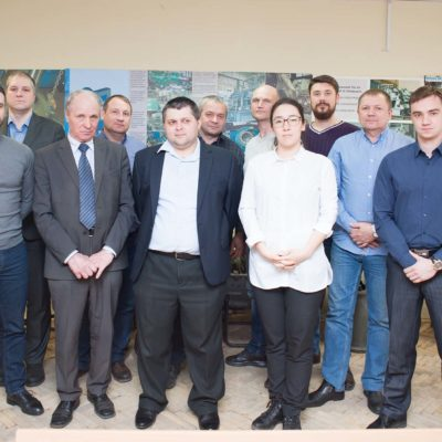"A group of the advanced training course on the topic ""Acceptance tests of compressor equipment by the customer ""from OOO "" Gazprom 335"", AO ""Vostochno-sibirskaya neftyanaya kompaniya"", OAO ""TomskNIPI Neft"", OOO ""Gazprom transgaz Surgut"" with specialists of the center A. A. Lebedev and N. I. Sadovsky"