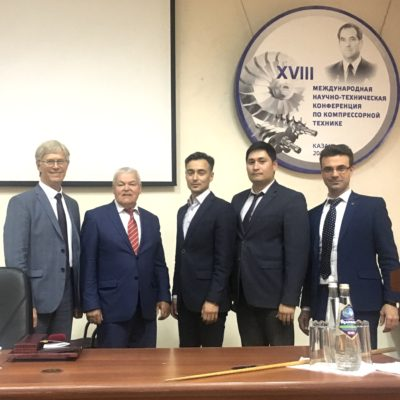 "Conference on compressor engineering (Kazan). From left to right: E. R. Ibragimov-General Director of AO "" Niiturbokompressor. V. B. Shnepp""; I. G. Khisameev – head of the ""Refrigeration engineering"" Department KNITU – ASKOMP Chairman; T. F. Kadyrov OOO ""Gazprom dobycha Yamburg""; Sh. Sh. Biktimirov - AO "" Niiturbokompressor V. B. Shnepp""; Y. V. Kozhukhov, head of the ""Compressor, vacuum and refrigeration engineering"" department SPbPU"