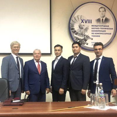 "Conference on compressor engineering (Kazan). From left to right: E. R. Ibragimov-General Director of AO "" Niiturbokompressor. V. B. Shnepp""; I. G. Khisameev – head of the ""Refrigeration engineering"" Department KNITU – ASKOMP Chairman; T. F. Kadyrov OOO ""Gazprom dobycha Yamburg""; Sh. Sh. Biktimirov - AO "" Niiturbokompressor V. B. Shnepp""; Y. V. Kozhukhov, head of the ""Compressor, vacuum and refrigeration engineering"" department SPbPU"