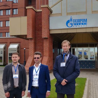 "Visit to OOO ""Gazprom dobycha Yamburg"". From left to right: M. M. Vorontsov - OOO ""Gazprom VNIIGAZ"", Y. V. Kozhukhov and S. V. Kartashov - SEC "" Compressor, vacuum, refrigeration engineering and pneumatic systems»"