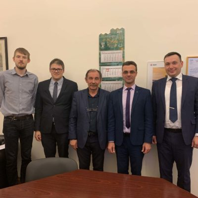 Meeting of center specialists with the developer of optimization technology IOSO I. N. Egorov – in the center of the photo. There are also center project manager A. A. Aksenov, Deputy Head of the CVRE Department for scientific work A. M. Danilishin, headof CVRE Department Y. V. Kozhukhov on the photo: