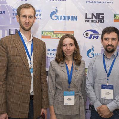 "Conference 2021: organizers of the conference - representatives of the scientific group ""KViHT"" S.V. Kartashov and E.S. Zaitsev with the representative of Atlas Copco A.V. Balashov"