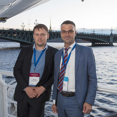Conference 2021: conference participants at a gala dinner on a motor ship on the Neva River